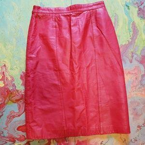 Pelle Pelle Skirts - Pelle Red leather pencil skirt